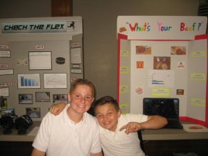 Students proudly display their Science Fair entries